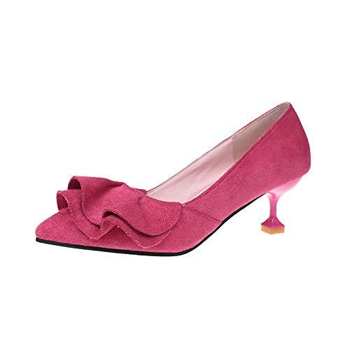 Yukun zapatos de tacón alto Zapatos De Mujer Zapatos De Gamuza con Punta En La Boca Poco Profunda Zapatos De Tacón De Aguja Zapatos Salvajes De Moda Zapatos Femeninos Rojos Red