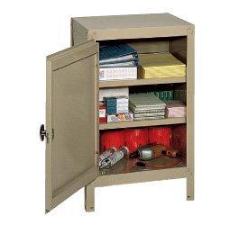 Edsal 6605TN Tan Steel Single Door Storage Cabinet, 2 Adjustable Shelves, 35