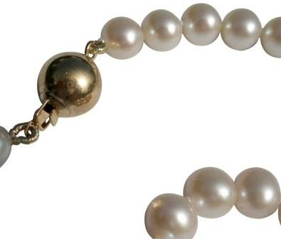 White 6-7mm Cultured Pearl Bracelet Round 14Ct Yellow Gold Clasp by Pearls Paradise (Image #1)