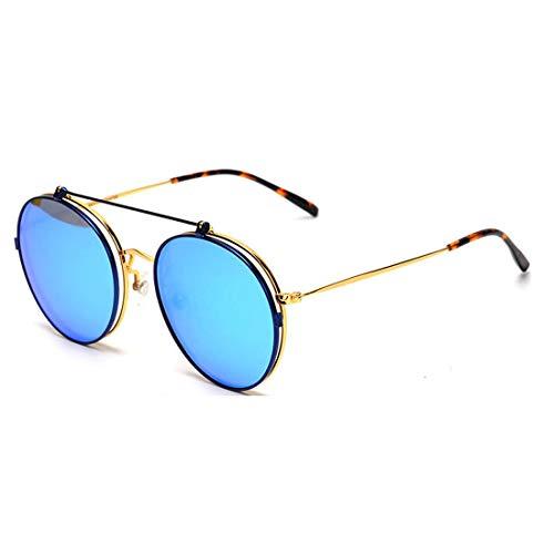 Double Blue Myopie Cadre en Plat Rond Lens Soleil Gold Soleil Film Couleur Cadre LBY Femme Frame Lens De de Gold Couleur Lunettes Soleil Frame Lunettes Gold Lunettes Lunettes Métal Usage qwxwf7tPZ