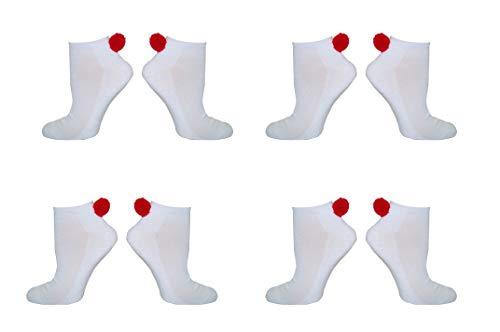Pom Pom Socks Women (4 Pair) Adult - Lowcut Pom-Pom Performance Socks - Fits Shoe Size: 4-10 (Ladies)