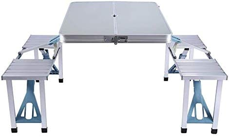 LBSX Mesa, Mesa Plegable de Aluminio con taburetes de Metal, Mesa ...