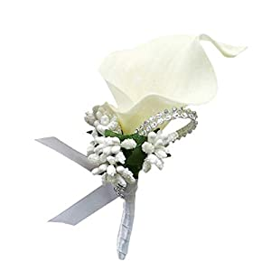 Fityle Calla Berry Wedding Corsages and Boutonnieres Bride Groom Flower Boutonnieres Marriage Prom Brooch Pins 5
