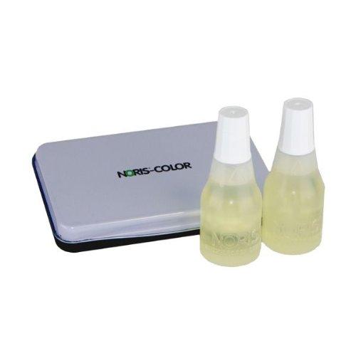 Noris - Set di 2 boccette di inchiostro per timbri, visibile ai raggi UV, 25 ml per boccetta, tampone da 7 x 11 cm incluso AMOS GmbH & Co. KG 4.01E+12