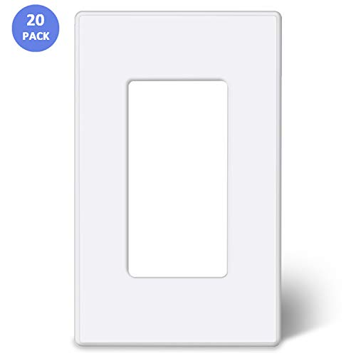 [20 Pack] BESTTEN 1-Gang Screwless Wall Plate, USWP2S Elegance Snow White Series, Standard Outlet Cover for Light Switch, Dimmer, Sensor, Timer, and Receptacle, Residential and Commercial, UL Listed
