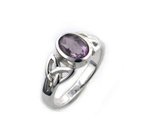 Sterling Silver Celtic Knot and Purple Genuine Amethyst Ring Size 12(Sizes 4,5,6,7,8,9,10,11,12)