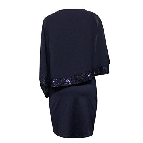 LuckyGirls Soire Robe Mini De Patchwork Partie lgant Femmes Robe Manches Paillettes Bleu Mousseline Soie De T8qnTfvr