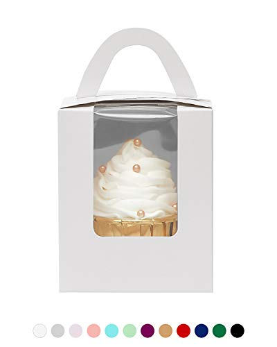 Yotruth White 50 Pack Indivdual Cupcake Boxes Cardboard Paper with Insert (Typical Series) ()