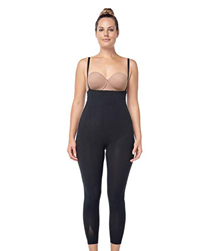 Leonisa Invisible Tummy Control Bodysuit Shapewear Leggings for Women with Leg Compression Shorts,Black,S-M