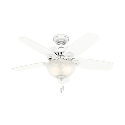 Hunter Indoor Ceiling Fan with light and pull chain control - Builder 42 inch, White, 52217 ()