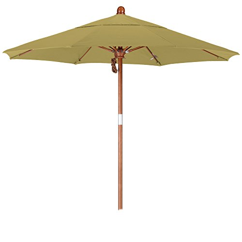 California Umbrella 7.5' Round Hardwood Pole Fiberglass Rib Market Umbrella, Stainless Steel Hardware, Pulley Lift, Sunbrella Wheat