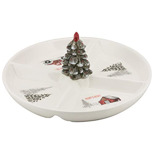 10 Strawberry Street WW-4SECT Winter Wonderland Ceramic 4-Section Snack Dish Christmas Platter, One Size, White
