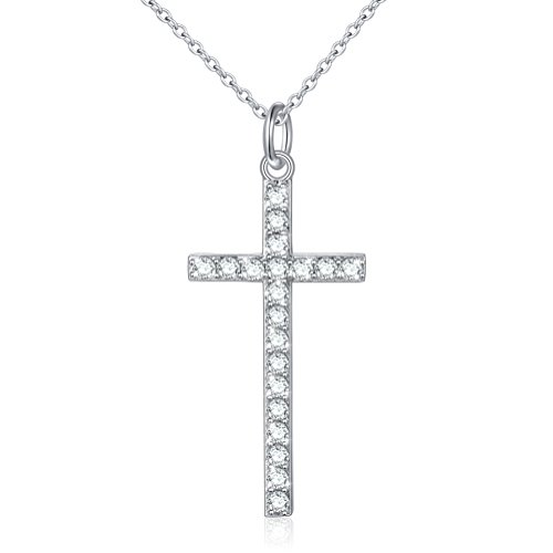 FLYOW (Double Sided Necklace) 925 Sterling Silver Round Cut Cz Cross Pendant Necklace for Women, 18 Christian Gift Valentines Day
