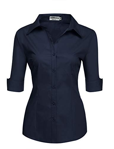 (Hotouch Womens Tailored Half Sleeve Basic Simple Button Down Shirt with Stretch Navy Blue X-Large)