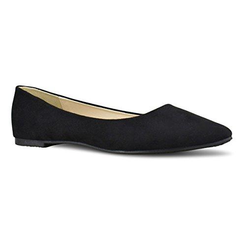 Premier Standard Women's Classic Pointy Toe Ballerina Walking Slip On Suede Flats - Comfortable Closed Toe Ballet, TPS Heels-35Eigna Black Su Size 7