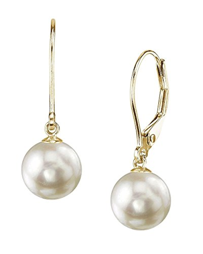 THE PEARL SOURCE 14K Gold 7.5-8mm AAA Quality Round Genuine White Akoya Cultured Pearl Leverback Earrings for Women