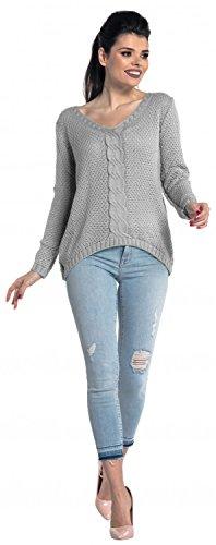 Zeta Ville - Suéter jersey de punto de ochos cuello V - para mujer - 346z Gris