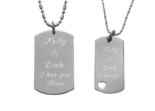 Engraved Couples Dog Tag With Heart Necklace Set