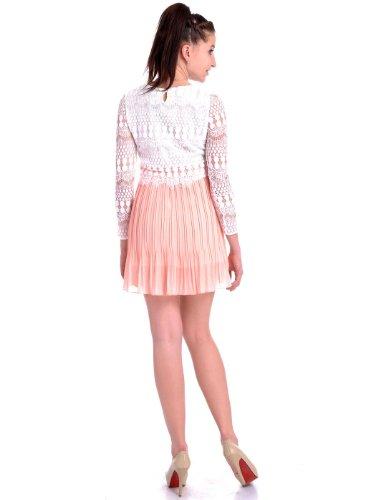 Spitze Weiß S Muster Kaci Kleid Anna M Rock und Fit rosa Plissee ...