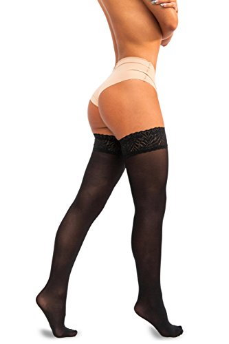 sofsy Lace Thigh High Opaque Hold Up Nylon Pantyhose Stockings Silicone Top 60 Den [Made in Italy] Black 3/4 - (Opaque Thigh High Stockings)