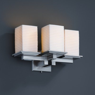 Mblk 8676 Matte (Justice Design POR-8676-15-SAWT-MBLK Limoges - Three Light Wall Sconce, Impression Option: Sawtooth Shade Impression, Choose Finish: Matte Black Finish, Choose Lamping Option: Standard Lamping)