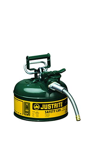 Justrite 1 Gallon Green AccuFlow Galvanized Steel Type II Vented Safety Can With Stainless Steel Flame Arrester And 5/8