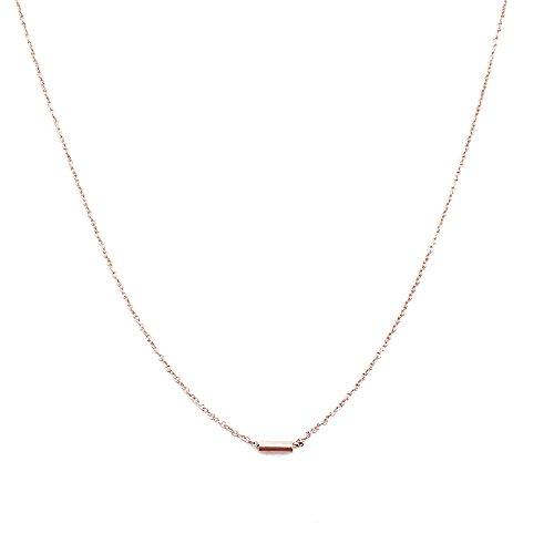 Petite Jewelry (HONEYCAT 18k Rose Gold Mini Pipe Bar Horizontal Necklace   Classic, Minimalist, Delicate Jewelry)