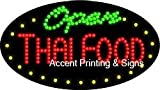 Thai Food Open Flashing & Animated LED Sign (High Impact, Energy Efficient)