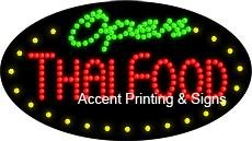 Thai Food Open Flashing & Animated LED Sign (High Impact, Energy Efficient) by Accent Printing & Signs