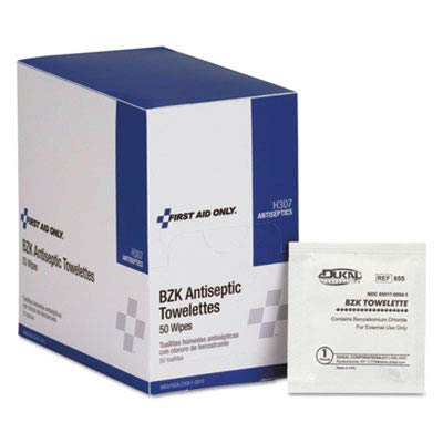 First Aid Only Products - First Aid Only - Antiseptic Cleansing Wipes, 50/Box - Sold As 1 Box - Antiseptic towelettes, with the active ingredient Benzalkonium Chloride. - Ideal for cleansing wounds when alcohol is inadvisable. - Single-use design eliminates the worry of cross contamination.