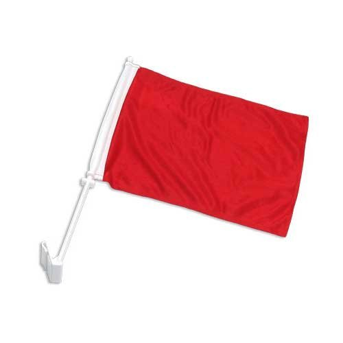 Online Stores Solid Car Flag, Red