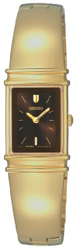 Seiko Women's SUJG12 Jewelry Gold-Tone Brown Dial Bangle Watch