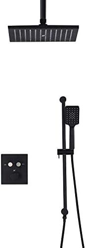 ボタン制御サーモスタット浴室黒加圧空気ジェットシャワー蛇口セット (Color : Black)