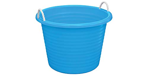 (United Solutions Blue Plastic Tub with Rope Handles, 17gal, 22