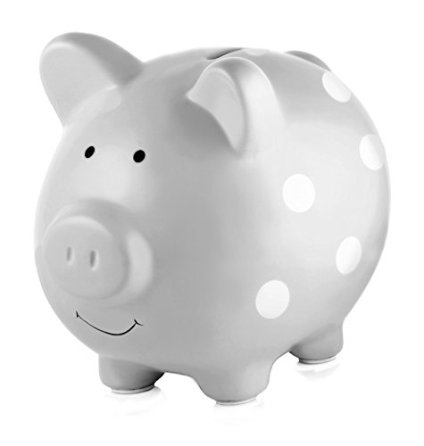Pearhead Ceramic Piggy Bank, Makes a Perfect and Unique Gift for Your Modern Baby or a Modern Nursery, Gray With White Polka Dots ()
