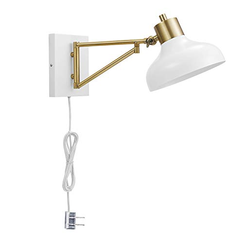 Globe Electric Berkeley 1-Light Plug-In or Hardwire Swing Arm Wall Sconce, White, Brass Accents, White Cloth Cord 51344 (Wall Globe Brass)