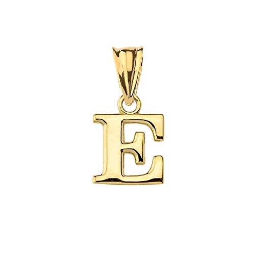Fine Personalized Initial E Charm Pendant in Solid 14k Yellow Gold