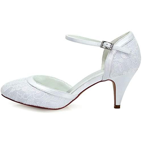 Unido Boda Punta Para Noche Mano Mujer Encaje De Y Con Tamaño Almendra A Qiusa Hecho Reino Blanco 2 Zapatos color Retro qwftTT
