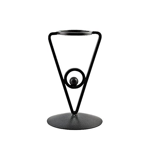 BestPysanky Triangle Black Wrought Iron Metal Sphere or Egg Holder Stand 6.5 Inches