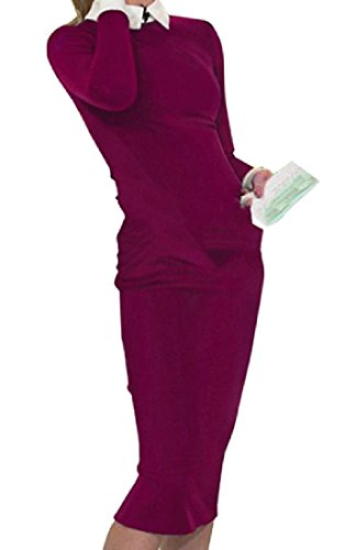 Office Color Work Women Stylish Dress Club Coolred Midi Fit 1 Pure Lapel 7xCSwCqZ