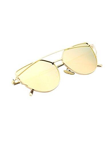 CGID Mode Polarisierte Katzenaugen Sonnenbrille For Damen UV400 reflektierenden Spiegel,Gold Rosa