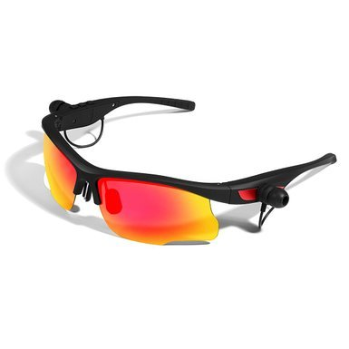 Sports Running Sunglasses Bluetooth Headphones Polarized Glasses Headset with Handsfree Answer Phone Music Mp3 Player for Android IOS Smartphones Black