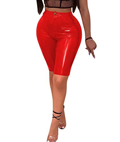 Doris Apparel Womens Sexy Shiny Faux Leather Leggings Pants Latex Capri Shorts Clubwear Red
