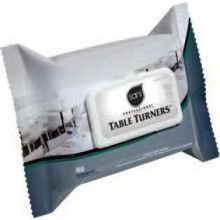 Table Turner Wet Wipes, 7 x 11 1/2, White, 60 Wipes/Pack, 12 Packs/Carton, Sold as 1 Carton (Turner Case)