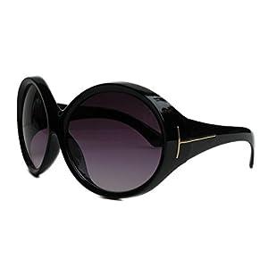 AStyles - Big Huge Oversized Vintage Style Sunglasses Retro Women Celebrity Fashion (Ali Oval Black)