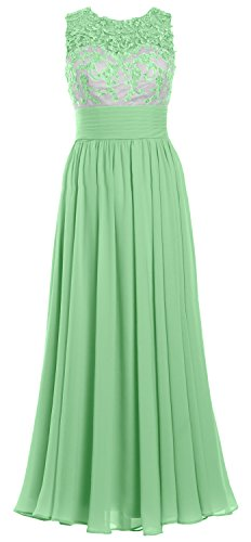 MACloth Women Lace Chiffon Long Prom Dress Illusion Wedding Party Formal Gown Menta