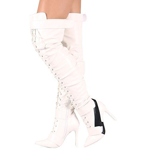 Cape Robbin Womens Puntige Teen Over De Knie Dij Hoge Vetersluiting Stiletto Hak Sneaker Laarzen Wit