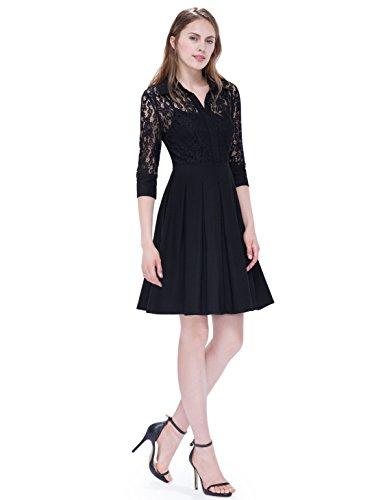 Alisapan Einfach Damen Lace Halbarm Cocktailkleid Partykleider 38 Größe Schwarz