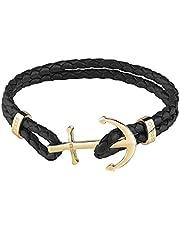Guess UMB79002-L Hook Detail Braided Bracelet for Men - Black and Gold