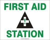 Accuform Signs® 7'' X 10'' Black, Green And White 0.040'' Aluminum First Aid Sign ''FIRST AID STATION (With Graphic)'' With Round Corner